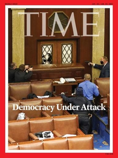 时代周刊新封面:美执法者拔枪对峙示威者,美式民主受攻击