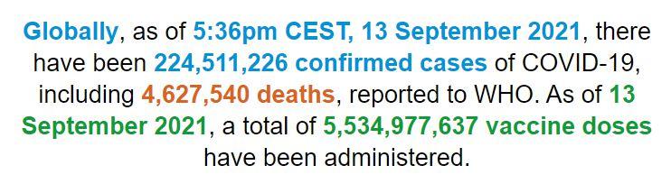 世卫组织:全球新冠肺炎确诊病例超过2.245亿例