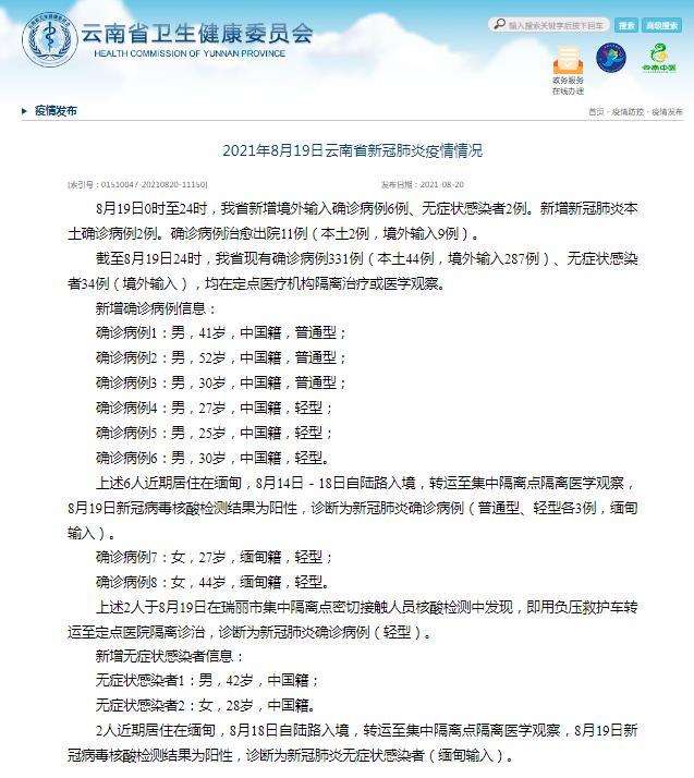 云南省8月19日新增新冠肺炎本土确诊病例2例