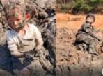 7岁哥哥带妹妹玩泥巴变泥人