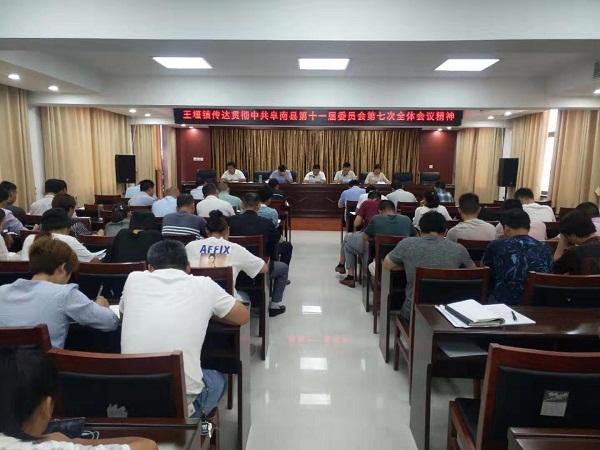 王堰镇传达贯彻中共阜南县第十一届委员会第七次全体会议精神